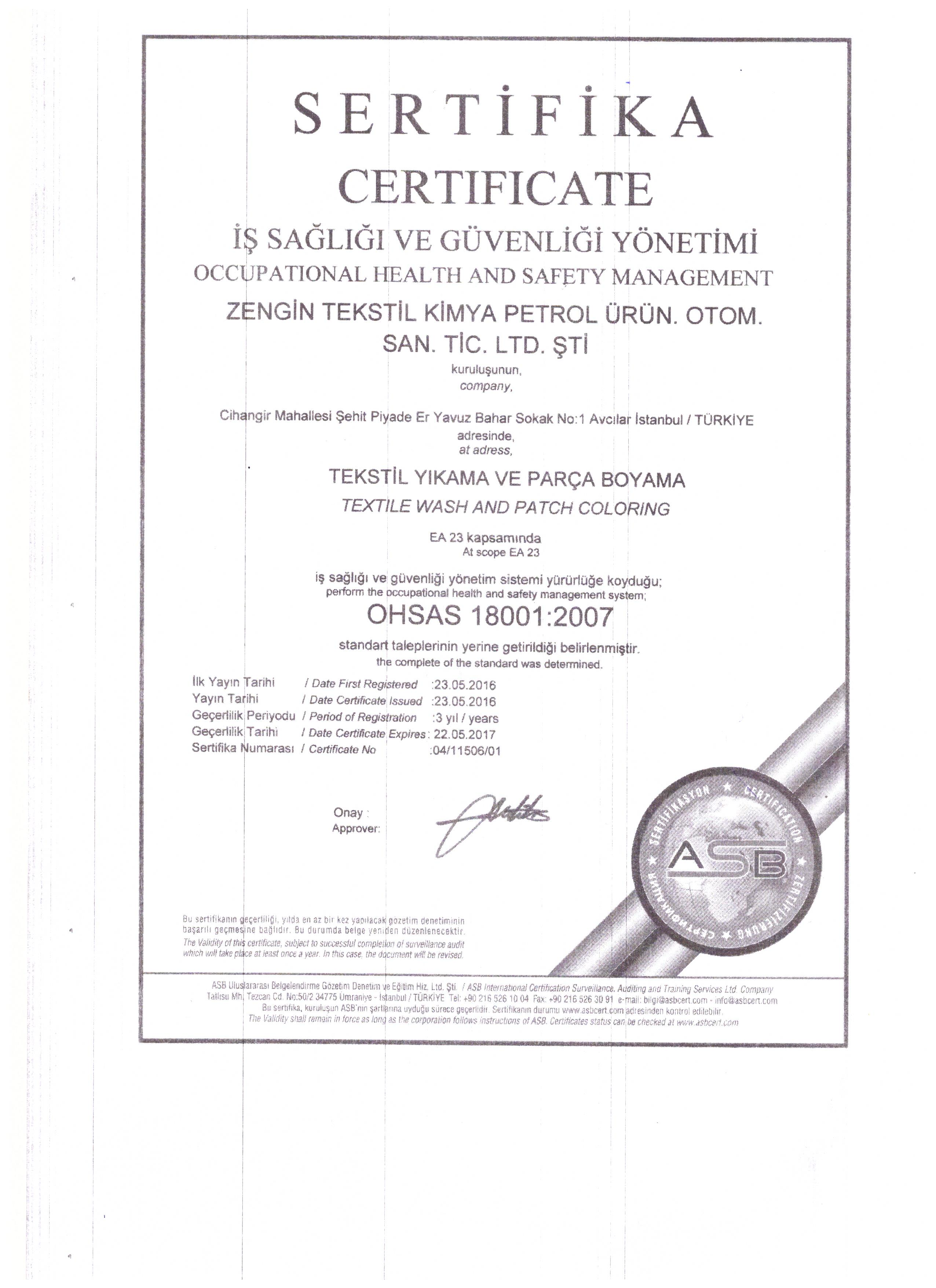 Our certificates zengin tekstil occupational health and safety 1betcityfo Choice Image